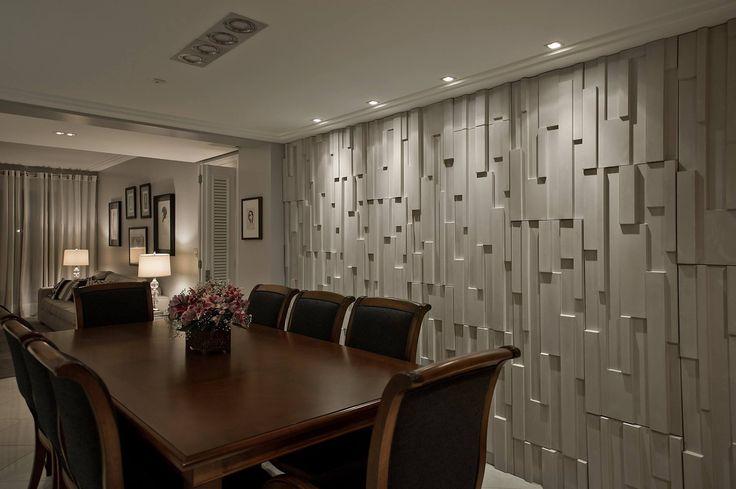 Parede gesso 3d 20 modelos para voc se inspirar for Sala de estar com papel de parede 3d